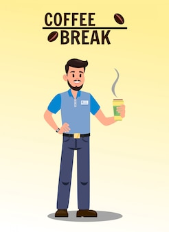 Illustrazione piana di vettore della pausa caffè con testo