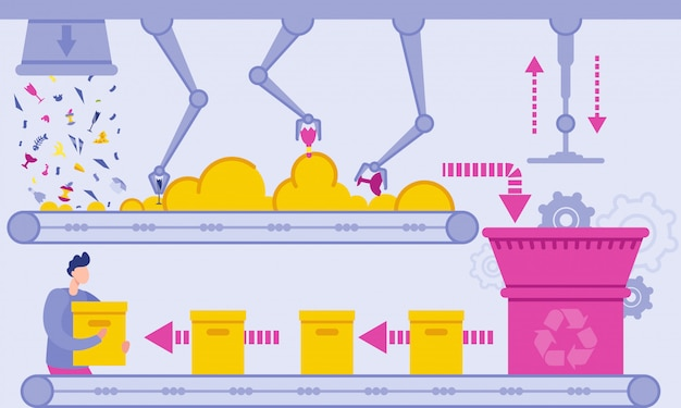 Illustrazione piana di vettore della pianta di riciclaggio dei rifiuti.