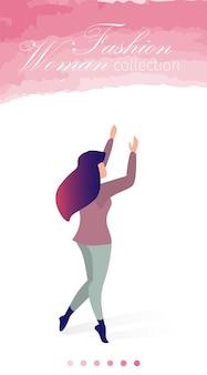 Illustrazione piana di vettore della raccolta della donna di modo.