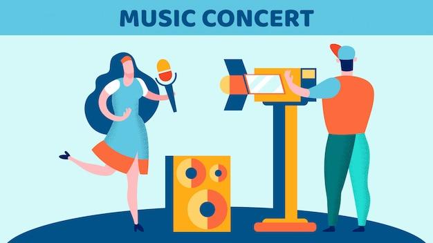Illustrazione piana di vettore della registrazione di concerto di musica