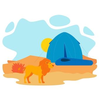 Illustrazione piana di vettore della tenda e del leone africano