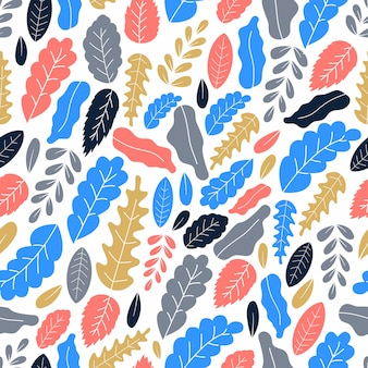 Illustrazione piana di vettore di art leaves seamless pattern