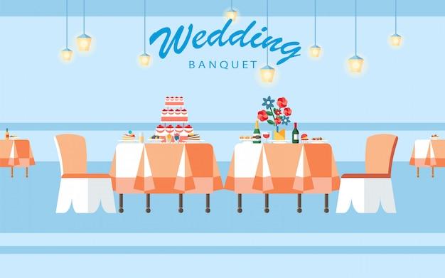 Illustrazione piana di vettore di banchetto di cerimonia nuziale di nozze