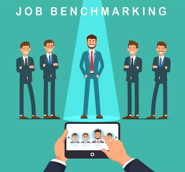 Illustrazione piana di vettore di benchmarking di lavoro dell'insegna.
