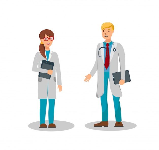 Illustrazione piana di vettore di colore dei lavoratori medici