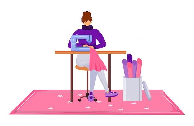 Illustrazione piana di vettore di colore dell'atelier dello stilista. assistente con macchina da cucire in officina. progettando e riparando i vestiti nel personaggio dei cartoni animati isolato studio del sarto