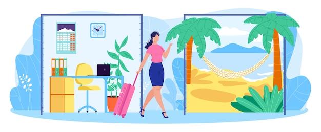 Illustrazione piana di vettore di concetto di equilibrio della donna di affari di vita lavorativa. personaggio dei cartoni animati della donna con la valigia che lascia il posto di lavoro dell'ufficio per il viaggio all'isola tropicale