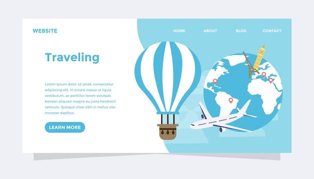 Illustrazione piana di vettore di concetto moderno di viaggio del mondo