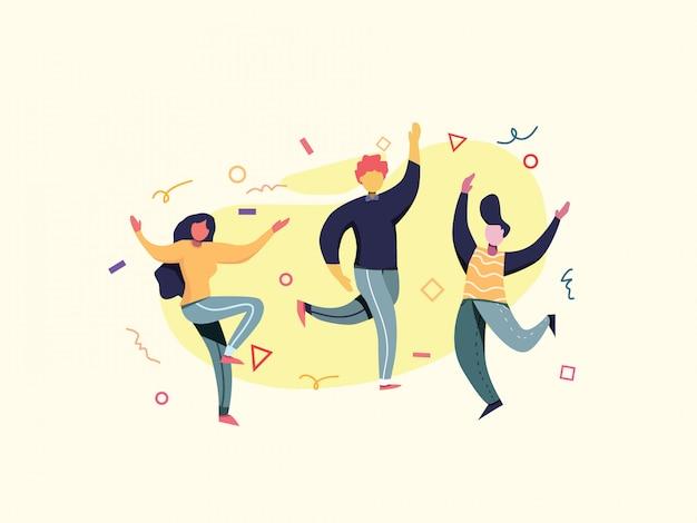 Illustrazione piana di vettore di dancing party di compleanno.