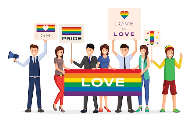 Illustrazione piana di vettore di dimostratori di parata di orgoglio. cartoon maschio, attivisti femminili in possesso di arcobaleno
