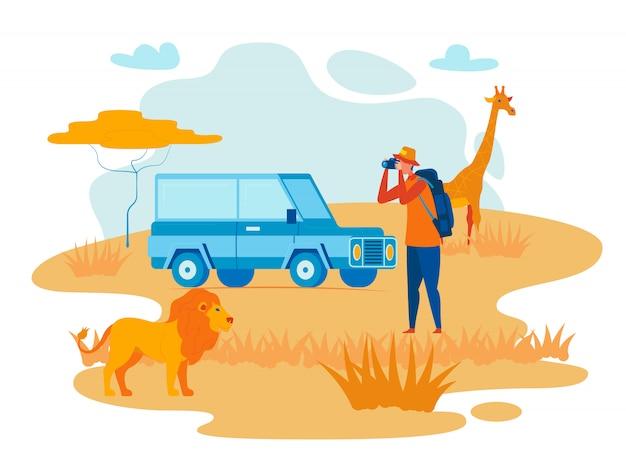 Illustrazione piana di vettore di esplorazione selvaggia dell'africa