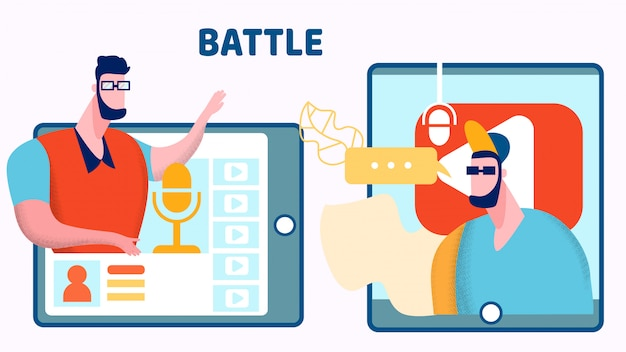 Illustrazione piana di vettore di internet blogger battle