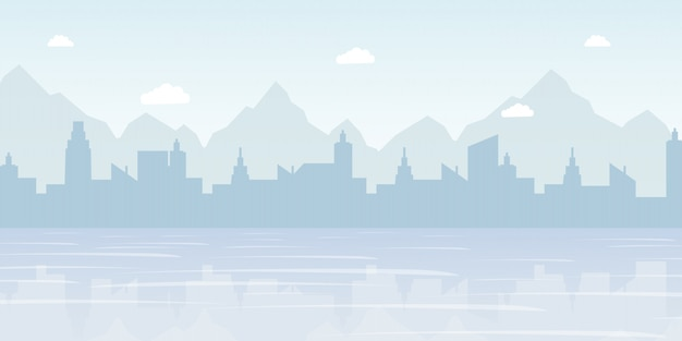 Illustrazione piana di vettore di panorama nebbioso di paesaggio urbano