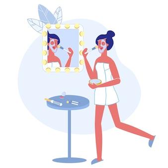 Illustrazione piana di vettore di procedura dello skincare delle donne