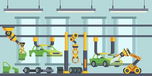 Illustrazione piana di vettore di processo di fabbricazione delle automobili moderne