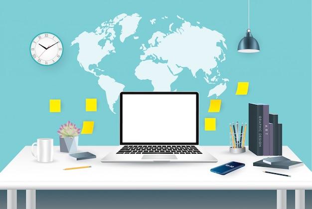Illustrazione piana di vettore di progettazione dell'area di lavoro creativa moderna dell'ufficio, posto di lavoro con il computer.