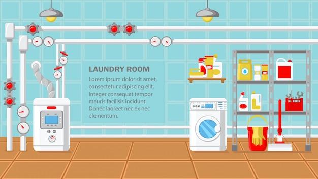 Illustrazione piana di vettore di progettazione della stanza della lavanderia.
