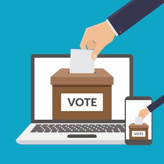 Illustrazione piana di vettore di progettazione di concetto online di voto