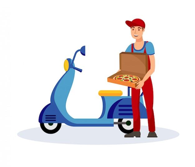 Illustrazione piana di vettore di servizio di distribuzione della pizza