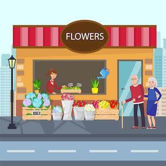 Illustrazione piana di vettore di storefront dei fiori freschi