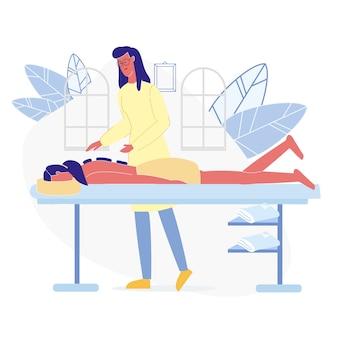 Illustrazione piana di vettore di terapia di massaggio di rilassamento