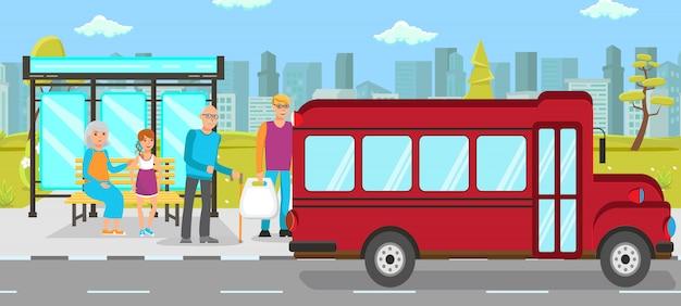 Illustrazione piana di vettore di trasporto pubblico della fermata dell'autobus