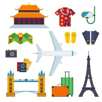 Illustrazione piana di vettore di vacanza delle icone di viaggio dell'aeroporto.
