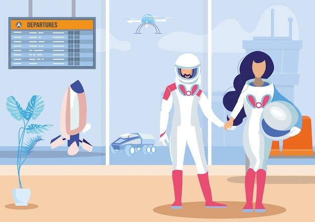 Illustrazione piana di vettore di viaggi spaziali futuristici