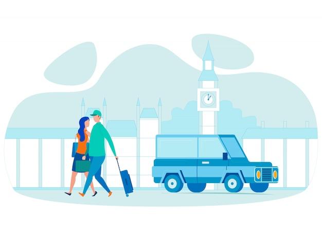 Illustrazione piana di vettore di viaggio all'estero delle coppie