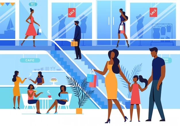 Illustrazione piana di vettore di visita del centro commerciale