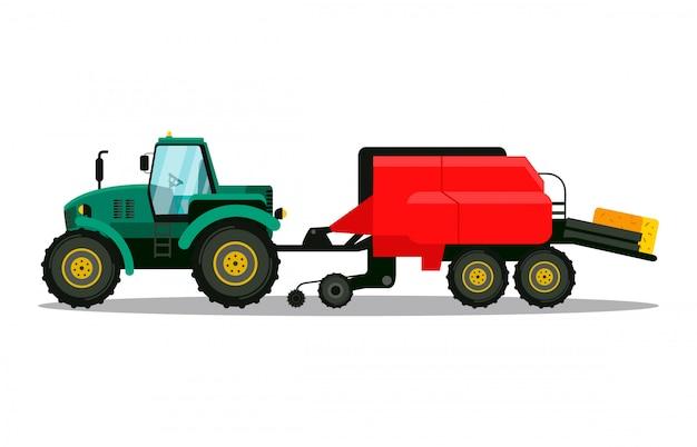 Illustrazione piana di vettore di vista laterale della pressa per balle del trattore