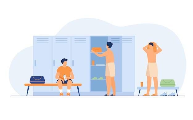 Illustrazione piana di vettore isolata spogliatoio della scuola. cambiare i vestiti dopo l'allenamento.
