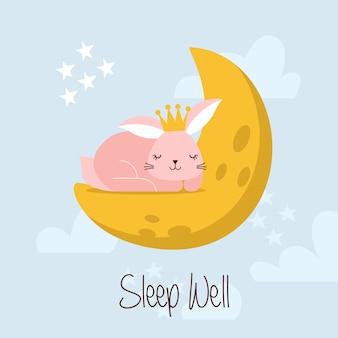 Illustrazione piana di vettore sveglio di bunny sleep on the moon