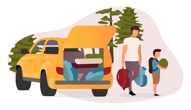 Illustrazione piana di viaggio di famiglia. cartone animato padre e figlio che trasportano zaini