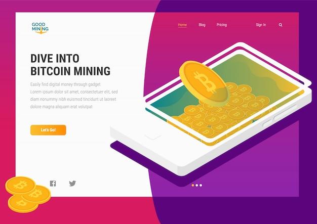 Illustrazione piana di web di estrazione mineraria di crypto