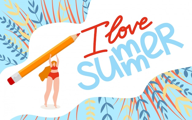 Illustrazione piana i love summer lettering cartoon.