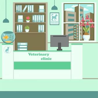 Illustrazione piana interna di colore della clinica veterinaria