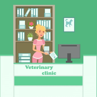 Illustrazione piana interna di vettore di colore della clinica del veterinario