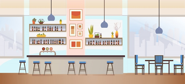 Illustrazione piana interna vuota di vettore del bar o del pub