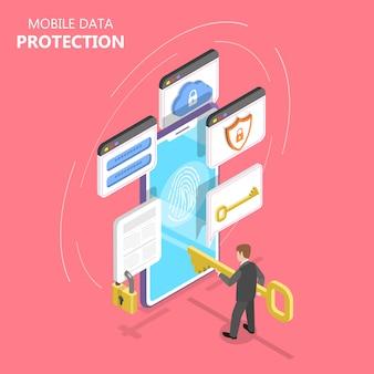 Illustrazione piana isometrica di protezione dei dati mobili.