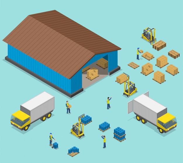 Illustrazione piana isometrica di vettore del magazzino