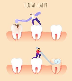 Illustrazione piana odontoiatria di prevenzione di salute dentale.