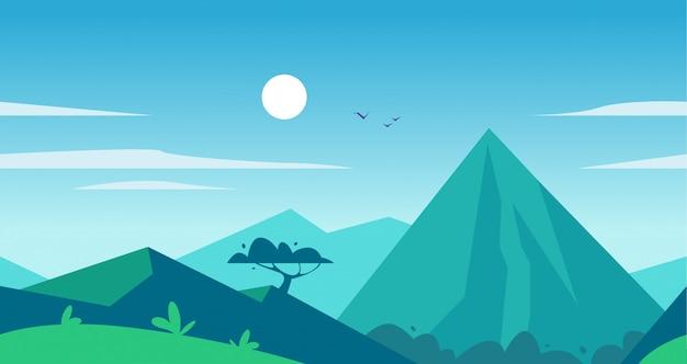 Illustrazione piana senza cuciture del paesaggio di estate con le montagne, il sole, l'albero e il cielo apannato blu.