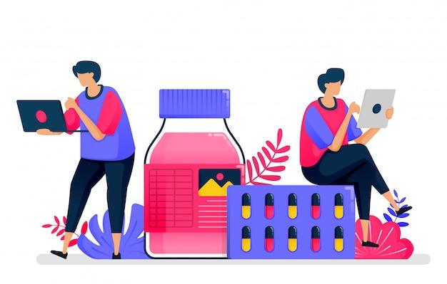 Illustrazione piatta dei servizi sanitari. medicina liquida, pillola e fornitore di droghe per farmacie. progettare per l'assistenza sanitaria.