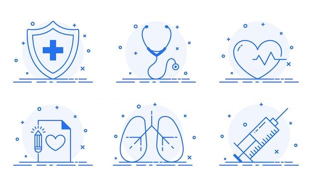 Illustrazione piatta dei simboli medici come primo soccorso, stetoscopio, ecg, polmoni e siringa.