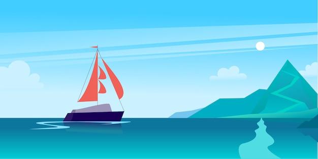 Illustrazione piatta del paesaggio estivo con la nave che naviga attraverso l'oceano verso la costa con le montagne sul cielo nuvoloso blu.