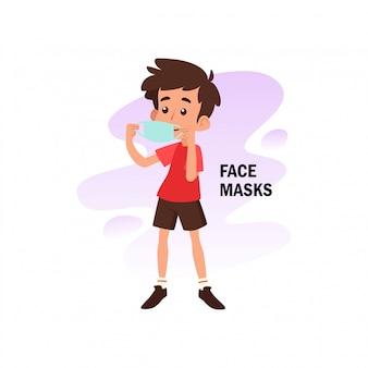 Illustrazione piatta del personaggio utilizzando la maschera per la prevenzione dal virus corona