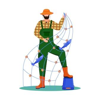 Illustrazione piatta del pescatore. sport, tempo libero attivo. flotta peschereccia. occupazione marittima. fisher con il personaggio dei cartoni animati isolato senna su fondo bianco