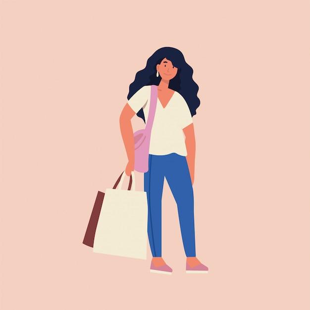 Illustrazione piatta della bella donna yong con borse della spesa. grande giornata di saldi.