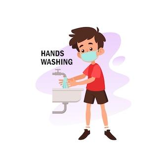 Illustrazione piatta della mano di lavaggio del personaggio per la prevenzione dal virus corona